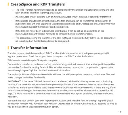 CreateSpace and KDP Transfers to IngramSpark
